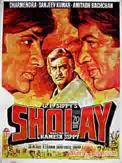 Poster of Sholay (1975) - (Hindi Film)