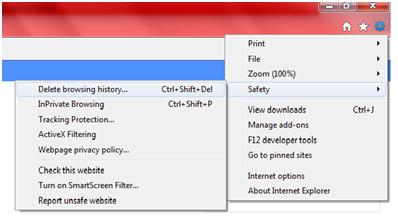 Delete Internet Explorer 9 History